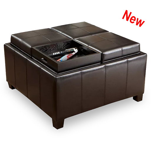 Square Ottoman with Trays