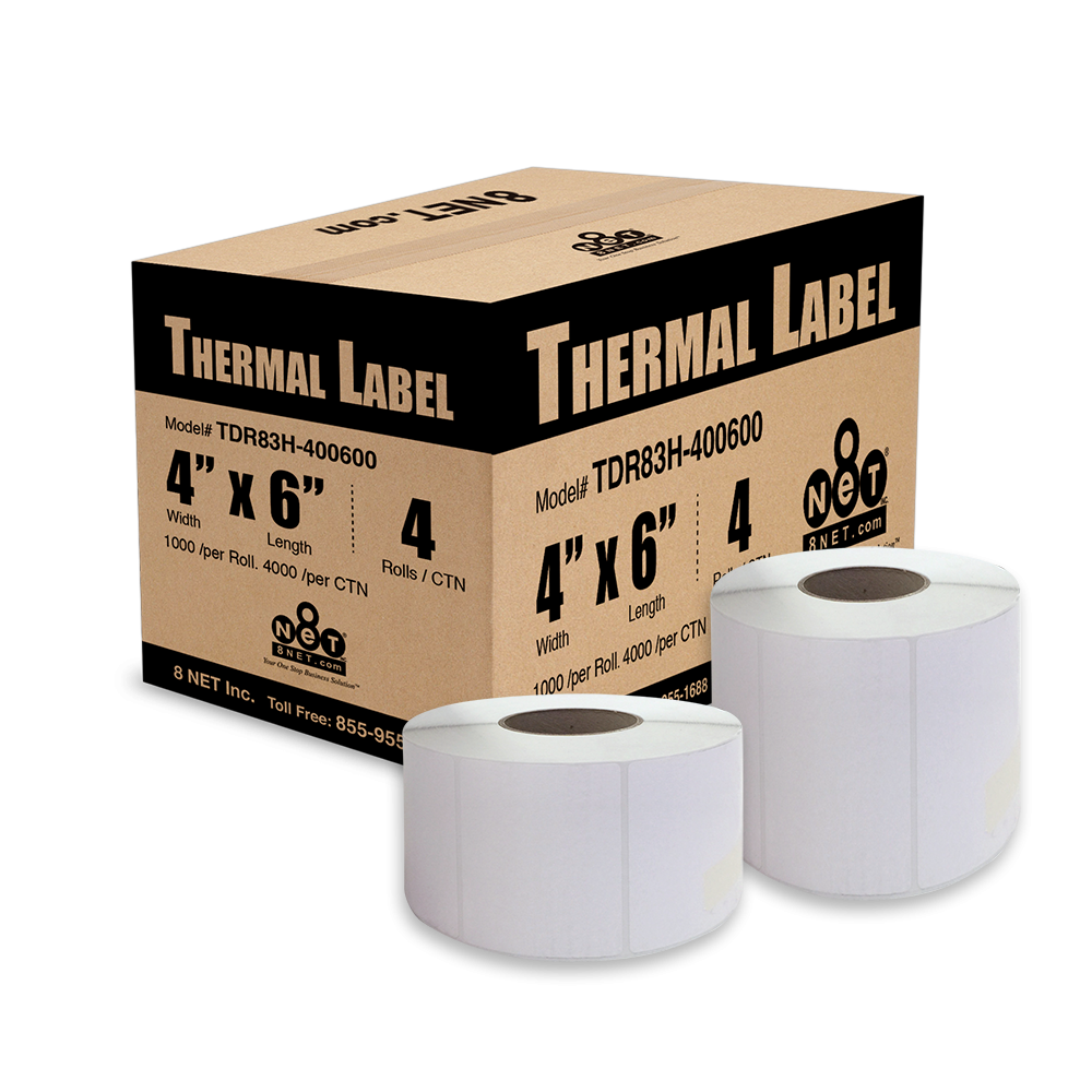 """Direct Thermal Labels - 3"""" Core, 8"""" Outer Diameter."""