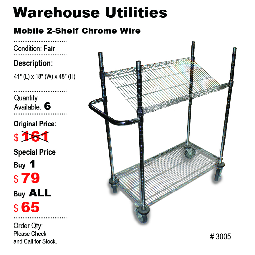 Mobile 2-Shelf Chrome Wire