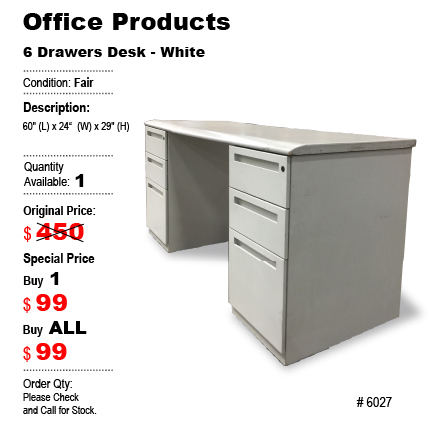 6 Drawer Desk - White